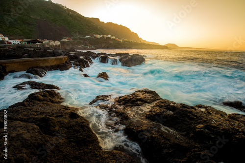 Wall Murals Cappuccino Seascape view on rocky coast with waves