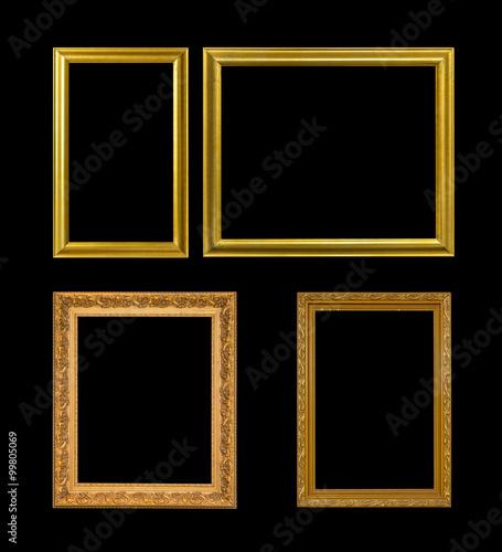 Fototapeta Gold frame Elegant vintage Isolated on black background obraz na płótnie