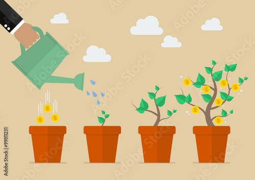 Fotografie, Obraz Hand with can watering money tree