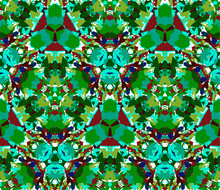 Green Kaleidoscope Seamless Pattern. Seamless Pattern Composed Of Color Abstract Elements Located On White Background.