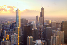 Chicago Skyscrapers At Sunset, Aerial View, United States