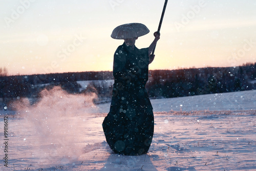 way of the warrior samurai cold winter Wallpaper Mural