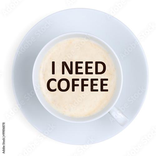Obraz na plátně Musím kávu sílu energie energie při práci kanceláři s šálkem ISOL