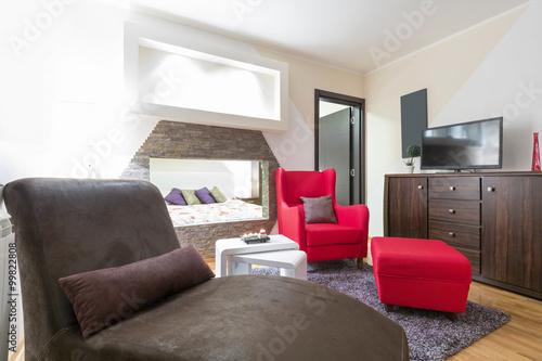 Zdjęcie XXL Wnętrze nowoczesne wnętrze salonu w hotelu apartament
