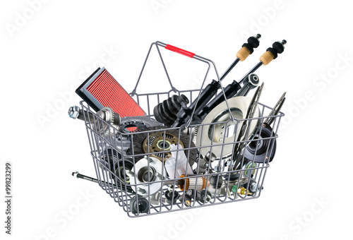 Basket with many spare parts for the passenger car Wallpaper Mural