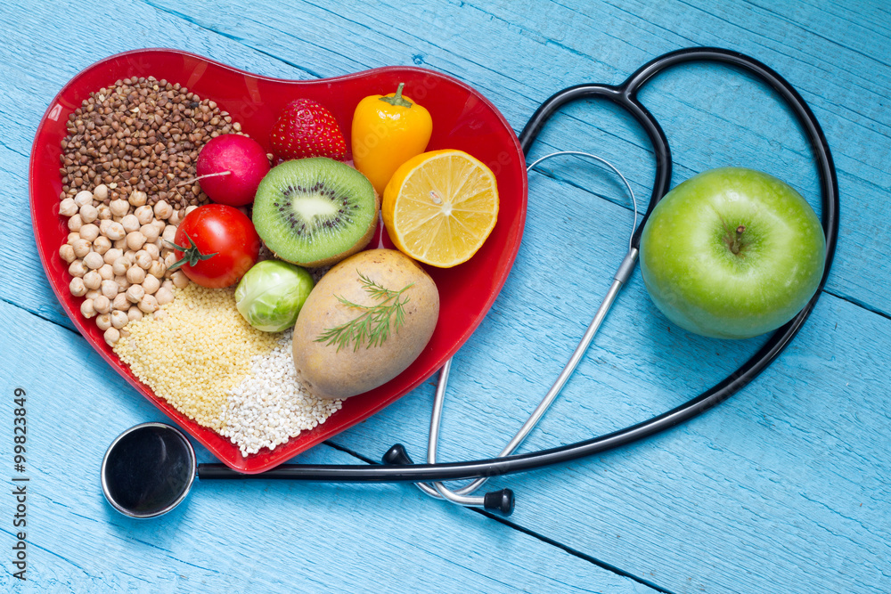 Fototapety, obrazy: Food on heart plate with stethoscope cardiology concept