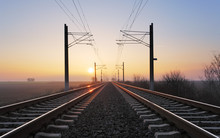 Rrailroad At A Sunset