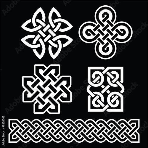 Celtic Irish Patterns And Braids On Black Buy This Stock Vector Interesting Irish Patterns