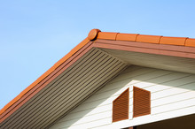 Urban Roof Gable With Blue Sky