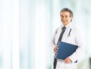 Adult qualified physician diagnostician, with a stethoscope