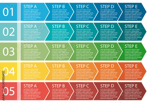 Fotografering  Flat design. Process arrows boxes set. 5 steps.