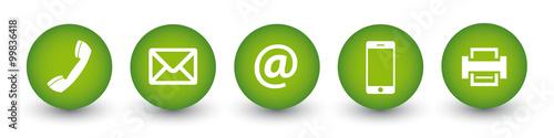 5 Kontakt Buttons - Telefon, Brief, e-Mail, Handy, Fax - Buy this ...