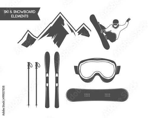 Fotografie, Obraz  Winter sports elements