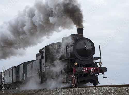Fotografija  vintage black steam train