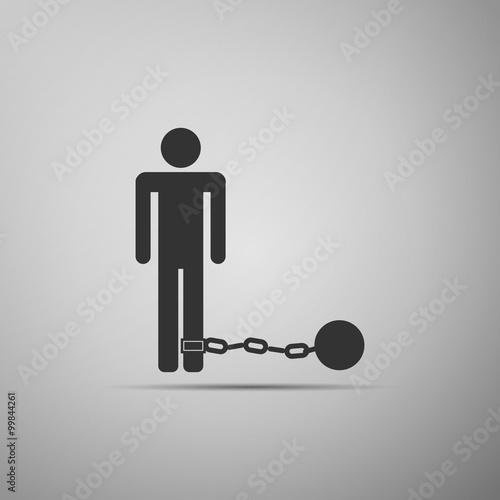 Fotografie, Obraz  Prisoner with ball on chain icon.