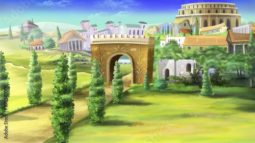 Foto Digital painting of the ancient roman road with Triumphal Arch.