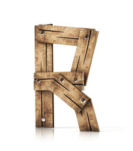 Single Wooden R Letter Isolated On The White Background. 3d Illustration. Wooden Font.