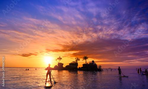 Zdjęcie XXL Bali Indonezja, piękna plaża morska o zachodzie słońca