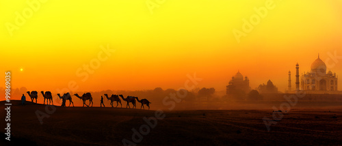 Photo Stands Yellow Tourism panoramic landscape of Agra, India
