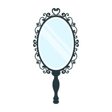 Vintage Mirror With A Handle On A White Background