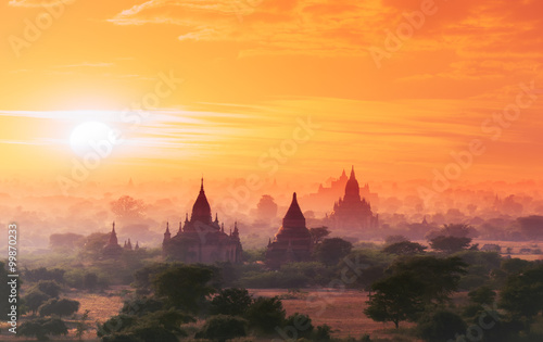 Myanmar Bagan historical site on magical sunset with beautiful sky and Buddhist Wallpaper Mural