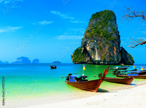 Poster Tropical plage Thailand ocean beach. Thai journey scenery landscape with wooden boats