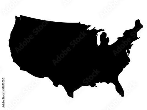 Black silhouette map of United States of America - fototapety na wymiar