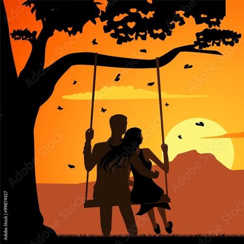 Fotografie, Obraz  swinging on the swing in love