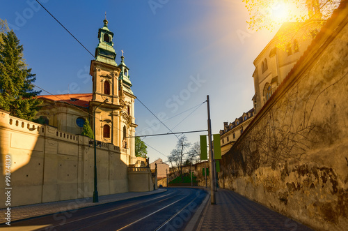 Photo  Old street in Nove Mesto in Prague. Czech Republic
