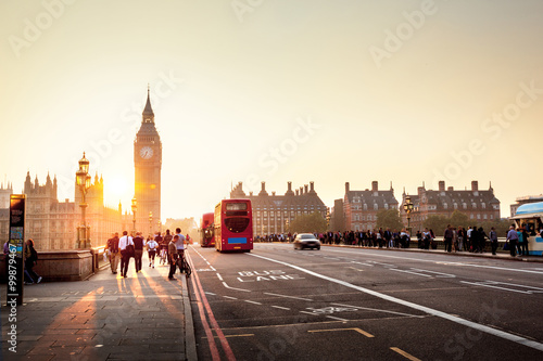 Tuinposter Londen Westminster Bridge at sunset, London, UK