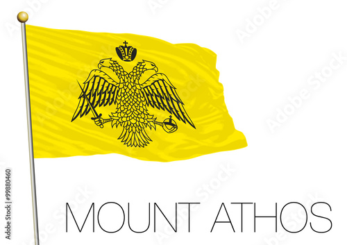 Photo  mount athos territory flag, greece