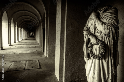 Mystic Ancient Stone Corridor and Rome Marble Statue Canvas Print