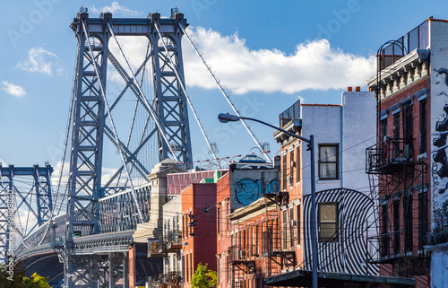 Brooklyn street scene with block of buildings near the Williamsb