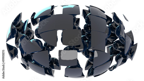 Photo sur Toile Art Studio cracked glossy orb isolated on white