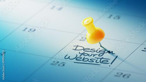 Fotografie, Obraz  Concept image of a Calendar with a yellow push pin. Closeup shot