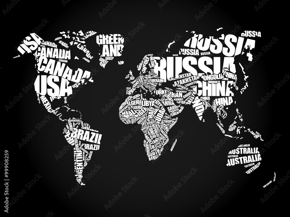 Fototapeta World Map in Typography word cloud concept, names of countries