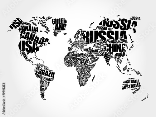 mata magnetyczna World Map in Typography word cloud concept, names of countries
