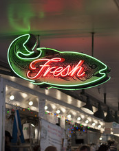 Neon Sign Of Fish Market