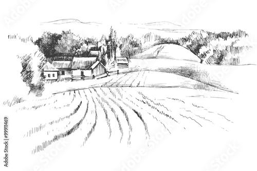 La pose en embrasure Blanc Hand drawn landscape with fields