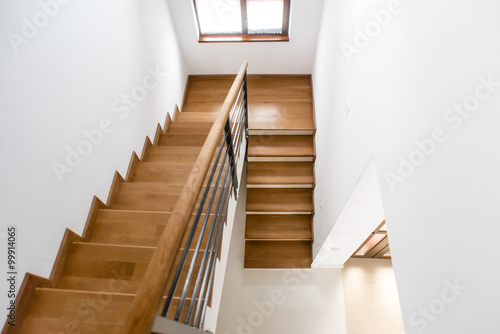 Wooden Minimalist Staircase In Luxury Home. Modern Architectural Loft With  Wooden Steps