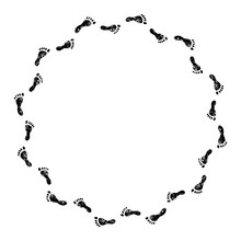 Footprints Black And White Circle Frame, Vector
