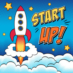Comic illustration of start up concept with a rocket in pop art