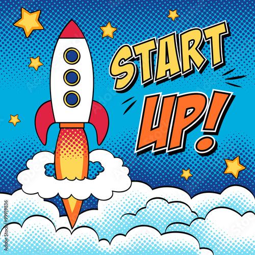 Fotobehang Pop Art Comic illustration of start up concept with a rocket in pop art
