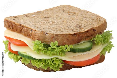 Staande foto Snack Sandwich Toast zum Frühstück belegt mit Käse Freisteller