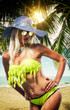Woman Sunbathe Sunny Summer Beach Concept