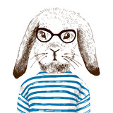 illustration of dressed up bunny  - 99930485