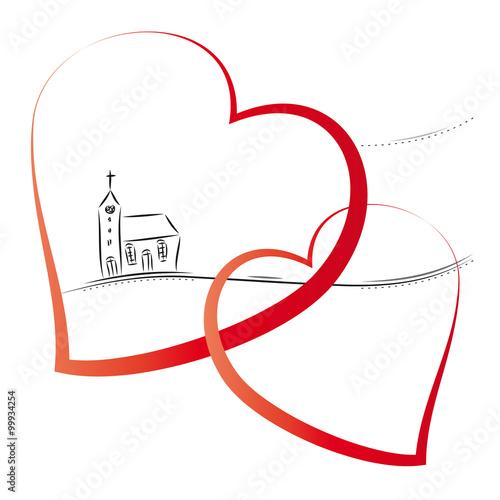 Hochzeit, Heirat - Kirchliche Trauung, Kirche mit zwei verschlungenen Herzen, Banner Wall mural