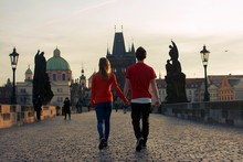 Loving Couple Walking Down The...