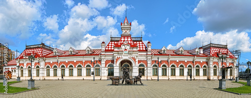 Old railway station building in Yekaterinburg, Russia