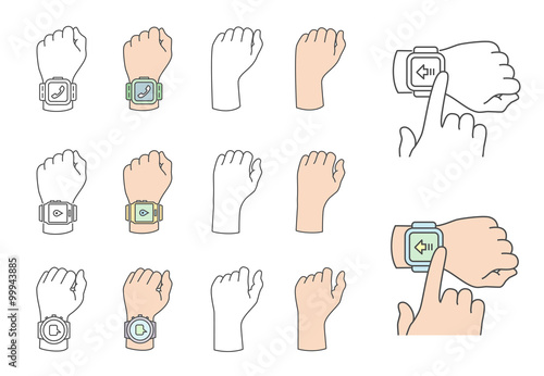 Fotografie, Obraz  Hands with smartwatch icons